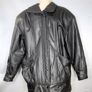 Niki Vintage Black Leather Biker Jacket Medium